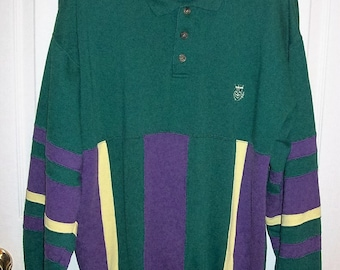Vintage 80s Mens Green & Purple Sweatshirt by Honors Large Only 8 USD
