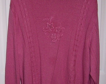 SAlE 30% Off Vintage Ladies Rose Pink Sweater by Haband XX Large Now 3.50 USD
