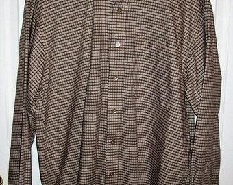 SAlE 40% Off Vintage Men's Tan & Brown Plaid Shirt by Haggar Large Now 3 USD
