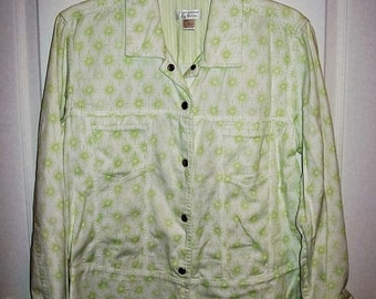 99 CENT SAlE Vintage '90s Ladies Green and White Print Jacket by Christopher & Banks Large Now .99 USD