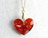 Red Heart Necklace Swarovski Crystal Jewelry Pendant Wire Wrapped 14kt Gold Fill Rock Quartz Valentine's Day Bride Wedding Anniversary Gift