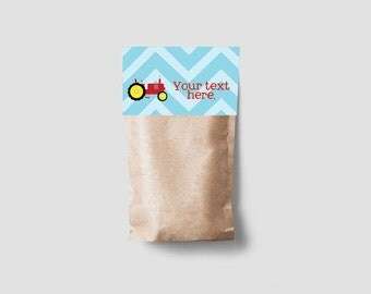 Instant Download - 4 Printable Tractor Treat Bag Toppers - Red Tractor with Blue Chevron