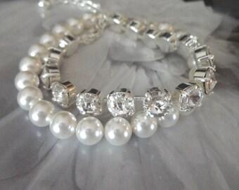 Pearl bracelet, Swarovski crystal bracelet ~ 2 strands ~ Chunky pearl bracelet ~ Wedding bracelet ~ Brides bracelet ~Bridal jewelry~Classic