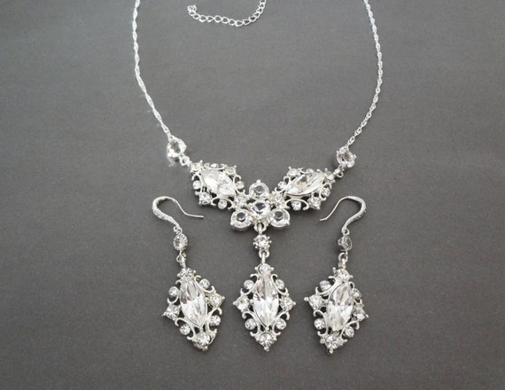 Crystal jewelry set, Brides jewelry set ~ Marquise cut - Wedding jewelry set ~ Crystal jewelry Set ~ Beautifully detailed, Victorian style