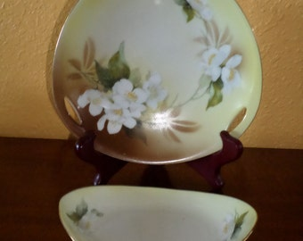Pair of R&S Prussia Porcelain Plates/Dishes Set of 2/Vintage/Yellow Gold Bowls/Tilowitz