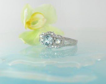 Aquamarine Herkimer Diamond Ring, Engagement Ring, Promise Ring, Sterling Silver