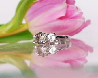 Three Stone Engagement Ring, Three Stone Ring, Herkimer Diamond, Herkimer Diamond Ring, Sterling Silver
