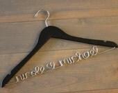Name Clothes Hanger, Wedding Dress Hanger, Personalized Hanger, Black Hanger, Engagement Gift, Personalised Coat Hanger