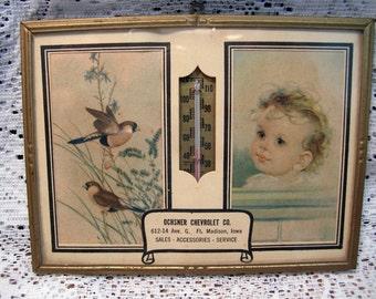 1947 Vintage Framed Baby & Birds w/Thermometer Ft. Madison IA OCHSNER Chevrolet