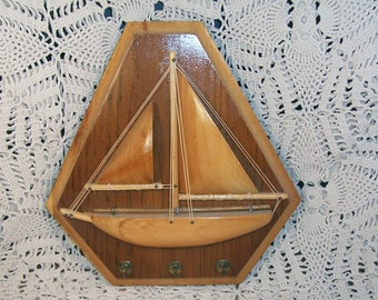 Vintage Handmade Wooden Sailboat Key Rack Nicely Done