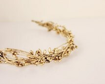 Gold Twig Crown. Bohemian, Flower Crown. Woodland. Flower Girl, wedding flower crown, boho chic, spring, summer, rustic wedding