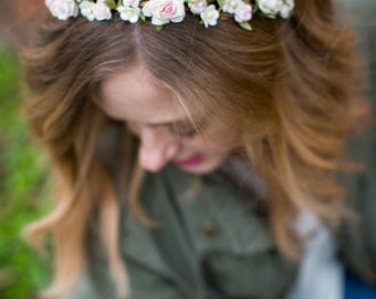 Bridal Floral Headpiece, Floral Crown, Flower Headband, Flower Crown, pink rose, pink wedding, Woodland, spring, summer, Bridal headpiece,