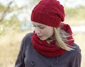 Hand knit women winter set cowl and hat wool red MADE TO ORDER