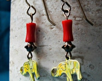 Tiny Yellow Elephant Earrings