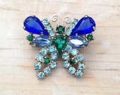 Vintage Butterfly Blues Brooch / Blue and Green Rhinestone Costume Pin / Something Old Something Blue