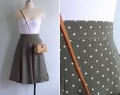Vintage 80's Olive Green & White Polka Dot Swing Skirt XS