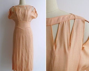 Vintage 80's THIERRY MUGLER Melon Orange Cutout Dress XS or S