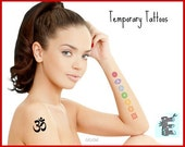Om and Chakra Set Temporary Tattoos - Matching Chakra Color Tattoos