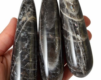 "Stunning! 1 XL BLACK Moonstone Crystal Wand 4.3"" for MassageHealing Crystal and Stone #SP2"