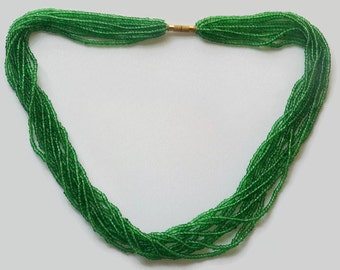 Green Seed Bead Necklace, Multi Strands Necklace, Green Necklace, Holiday Jewelry, Gypsy Necklace
