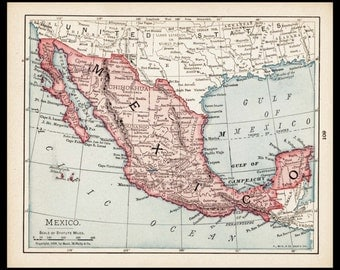 Small Map Of Mexico Map Old Color Map Antique Wall Decor Print 1900s
