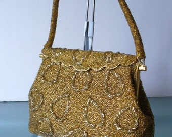 Vintage Gold Beaded Evening Bag