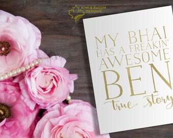 Indian Raksha Bandhan Rakhi Greeting Card Printable - Awesome Ben -- Brother Bhai Bhaiya Birthday card, Gold Foil