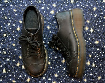 Official DOC MARTENS Black CHUNKY Ankle Boots Shoes Grunge Punk Women's Size 8