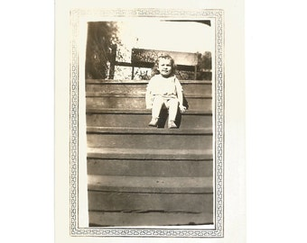 "Vintage Snapshot ""Cutie Pie"" Little Girl Walks Up The Stairs All By Herself - Toddler - Found Vernacular Photo With Decorative Border"