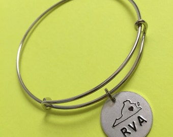 RVA Love Bangle - RVA Bangle with Richmond, Virginia Heart Charm - Virginia Home Bangle - RVA Bangle - Home State Love
