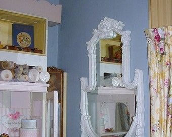Vintage French Barbola Mirror Swags Roses Original Ornate 43 x 30