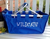 Fun college themed Embroidered large Market Basket - UK- Wildcats- Kentucky Personalized FREE