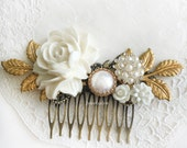 Wedding Hair Comb White Bridal Hair Accessories Romantic Headpiece Modern Chic Elegant Gold Leaves Pearl Rhinestone Hair Adornment for Bride