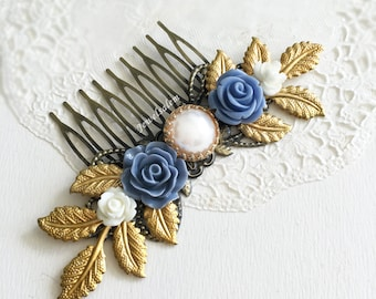 Cornflower Blue Flower Bride Hair Comb White Pearl Wedding Hair Adornment Periwinkle Gold Leaves Bridal Hair Accessories Rustic Elegant Boho