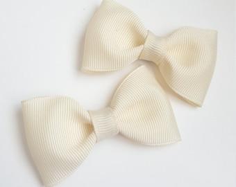 2 cream flower girl hair bow clips-- tuxedo bows for babies toddler big girl bows--wedding bridal shower gift idea