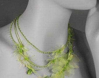 Green boho necklace. Unique botanical bijoux. Bohemian wedding necklace. Beautiful linen jewelry. Beaded linen necklace. Fine art jewelry.