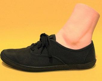 Vintage 90s Tie Sneaker Black Tennis Summer Hipster Streetwear 7 8 M Lace Up
