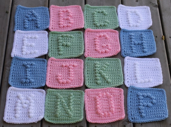 UPPER CASE Alphabet Letters A-Z Crochet Pattern with Bonus Heart Symbol - Crochet Baby Blanket Pattern -