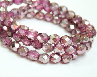 Fire polished Czech glass Pink Purple Mauve Mirror Picasso finish faceted round beads 6mm half strand Sparkle Effect NFP6-39