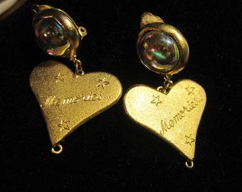Vintage Amy Jo New York Heart Memories Bubble Glass Clip On Earrings