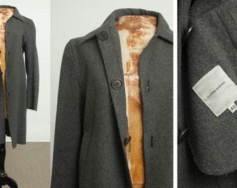 90s COSTUME NATIONAL wool jacket coat, Minimal, minimalism, Raw hem, Grey Gray wool overcoat, hidden metal buttons, Womens medium