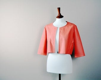 Cropped leather jacket,vegan leather jacket,pink jacket,pink bolero,peach shrug,bolero jacket,long sleeve,laser cut leather jacket,