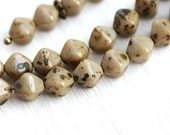 6mm bicone beads, beige spotted, picasso luster, czech glass beads, spacers, bicones - 30Pc - 0599