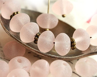 Frozen pink beads, rondelle donuts, Seaglass look, AB finish Czech pink glass beads, puffy rondels - 6x9mm - 20pc - 2352