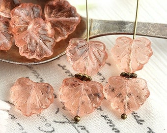 Pink beads, Czech glass leaf beads - transparent pink - Maple leaves - 11x13mm - 10Pc - 2358
