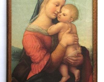 Madonna and Child Print, Raphael, 1937, Renaissance, Christ Child, Museum Print, original painted in 1508, Da Vinci, Christ, Religious