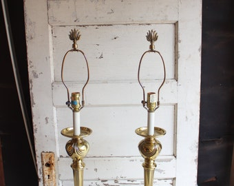 Vintage Stiffel Solid Brass Gold Lamps Set of 2