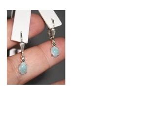 Hemimorphite & Diamond Earrings in Sterling Silver