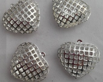 4 Beads - Puffy Silver Toned Hearts