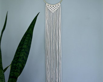 "Macrame Wall Hanging - 35"" Natural White Cotton Rope w/ 6"" Brass Ring - Triangle Fringe - Boho Home, Nursery, Wedding Decor"